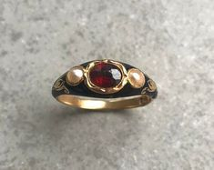 Fine Antique Victorian Gold Garnet Paste and Seed Pearl Seed Pearl Ring, Vintage Items, Vintage Jewelry, Victorian Ring, My Engagement Ring, Ring Crafts, Three Stone Rings, Garnet Rings, Diamond Flower
