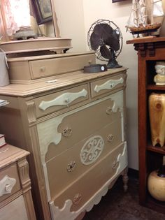 Chalk paint highboy dresser with detailing, available at Willowstone Antiques, booth 47!