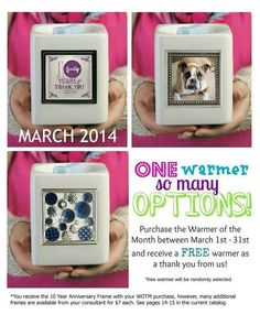 March warmer of the month. Celebrating Scentsy's 10th anniversary.