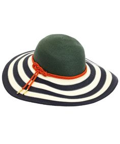 Blue Wide Stripe Brim Sun Hat