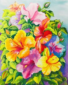 Hibiscus Rainbow Array by Janis Grau - Hibiscus Rainbow Array Painting - Hibiscus Rainbow Array Fine Art Prints and Posters for Sale Tropical Fabric, Tropical Flowers, Hibiscus Flowers, Image Painting, Diy Painting, Plant Pictures, Mosaic Art, Shibori, Watercolor Flowers