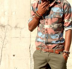 Native pattern shirt & chinos