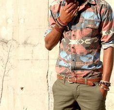 Native pattern shirt & chinos