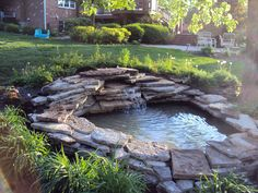 landscaping around a pond | ... flow back to the pond. the pond was filled and ready for landscaping