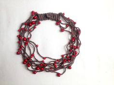 Red statement necklace Red necklace Long beaded necklace