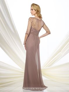 Montage by Mon Cheri - 216963 - Chiffon slim A-line gown with hand-beaded illusion three-quarter length sleeves and bateau neckline, sweetheart bodice with beaded natural waist, beaded illusion keyhole back, softly gathered skirt with center slit and sweep train.Sizes: 4 - 20Colors: Dark Mink, Navy Blue,Dark Purple