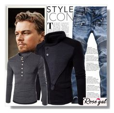 """Man clothes,Rosegal 15."" by sajra-de ❤ liked on Polyvore featuring men's fashion and menswear"