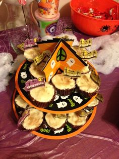 """Apple Cider Cupcakes with Buttercream Frosting and Cinnamon-Sugar (from """"Vegan Cupcakes Take Over The World"""") -- perfect for a fall-themed party and a very rich taste.  The wrappers + Trick-or-Treat cupcake toppers are from Target #HalloweenParty2013"""