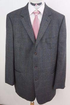 Jos A Bank Men's Gray Herringbone Check Wool Blazer Sport Coat Jacket 46 XLong #JosABank #ThreeButton