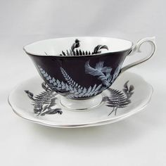 """Royal Albert """"Night and Day"""" Black Tea Cup with White Saucer, Vintage Bone China"""