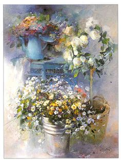 Art painting romantic by Willem Haenraets 1940 Dutch