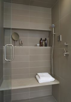 Shower...long tile with large square. Something different