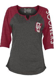 Oklahoma Sooners T-Shirt - Womens Grey/Cardinal Sooners Deja Fashion Long Sleeve Tee http://www.rallyhouse.com/shop/oklahoma-sooners-pressbox-22640289?utm_source=pinterest&utm_medium=social&utm_campaign=Pinterest-OUSooners $29.99