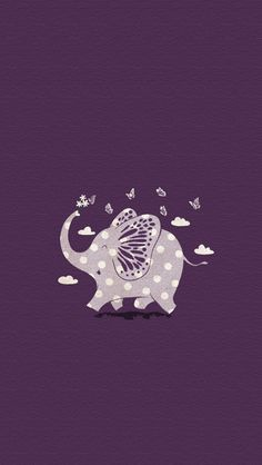 Elephant and Butterflies - Art - Illustration - purple - Lim Heng Swee Elephant Love, Elephant Art, Elephant Illustration, Cute Illustration, Elephant Wallpaper, Image Deco, Elephants Never Forget, Love Doodles, Unicorn And Glitter