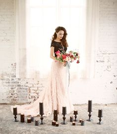 black lace and pink ruffles two piece wedding dress / http://www.deerpearlflowers.com/two-piece-wedding-dresses/