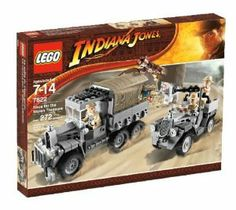 """LEGO Indiana Jones Race for the Stolen Treasure by LEGO. $219.99. Recreate one of the greatest chase scenes in movie history where Indy with this exciting set. The villains have stolen the treasure and Indy must get it back. Contains 272 pieces. Includes Indiana Jones with hat, whip and shoulder bag, Belloq, 2 guards and a horse. Indiana Jones can hang onto many different parts of the truck.  Treasure chest is being transported inside the covered truck. Truck measures 6"""" (1..."""