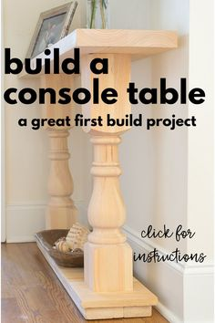 Build a Console Table Nourish and Nestle. I can't even tell you how much I loved this project and my console table! It was an easy first furniture build project and made me excited for more furniture building projects. Diy Furniture Table, Diy Sofa Table, Diy Furniture Projects, Farmhouse Furniture, Diy Wood Projects, Furniture Makeover, Woodworking Projects, Building Furniture, Wood Crafts