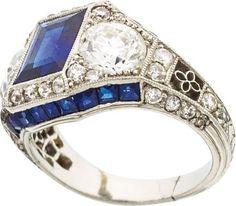 Art Deco Sapphire, Diamond, Platinum Ring, Bailey Banks Biddle : Lot 58196
