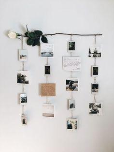 Polaroid Pictures Display, Polaroid Display, Polaroid Decoration, Polaroids On Wall, Hanging Polaroids, Display Pictures, Display Ideas, Diy Wall Decor For Bedroom, Cute Room Decor
