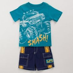 Toddler Boys Monster Truck Tee and Shorts Set Pyjama Sets, Kids Outfits, Cute Outfits, Kids Pajamas, Couture, Little Man, Baby Wearing, 3rd Birthday, Toddler Boys