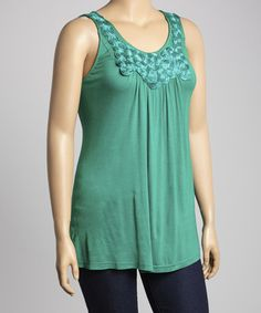 Another great find on #zulily! Emerald Rosette Sleeveless Top - Plus #zulilyfinds