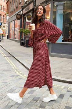 On-trend styles we can't have enough of. We're talking about this gorgeous berry spot shirt dress. # dressy Casual Outfits with heels Buy Black Shirt Dress from the Next UK online shop White Sneakers Outfit, Dress With Sneakers, White Shoes, Red Flats Outfit, Red Dress Outfit Casual, Midi Dress Outfit, Overalls Outfit, Outfit Work, Casual Sneakers