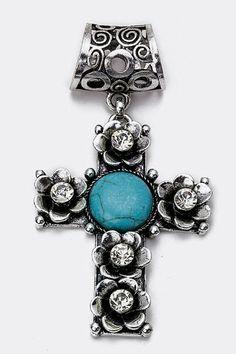 Lauren Spade Turquoise Cross Scarf Charm