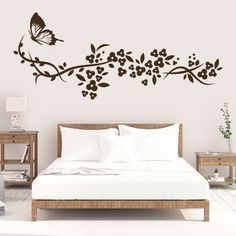 Ideas for wall paper flower bedroom interior design Bedroom Wall Designs, Wall Decor Design, Home Decor Bedroom, Room Decor, Kids Room Wall Decals, Wall Stickers Home Decor, Interior Walls, Interior Design, Wall Painting Decor