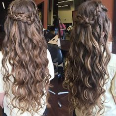 Cascading curls and a crown of braids are perfect for #prom or a #wedding. Done by a student at Regency Beauty Institute.