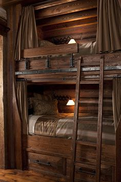 homemade bunk beds made of brown wood with three white . Homemade bunk beds made of brown wood with three white beds and a . Rustic Bunk Beds, Cabin Bunk Beds, Triple Bunk Beds, Built In Bunks, Cool Bunk Beds, Bunk Rooms, Bunk Bed Designs, Log Cabin Homes, Cabin Interiors