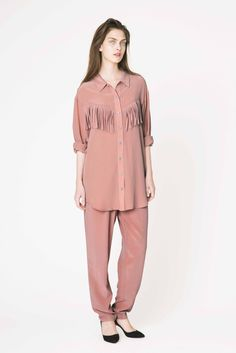 Gemma silk shirt & trousers from Ganni pre-spring collection