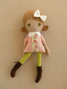 Fabric Doll Rag Doll Light Brown Haired Girl in Old by rovingovine