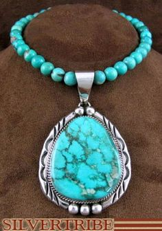 Navajo Indian Jewelry Sterling Silver Turquoise Pendant And Bead Necklace Set.