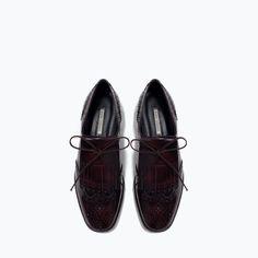 FRINGED LEATHER BLUCHERS-Flats-Shoes-WOMAN | ZARA United States