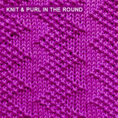 The Zig Zag seed is an easy-to-knit seed stitch worked in the round. Just use kn. The Zig Zag seed is an easy-to-knit seed stitch worked in the round. Just use knit and purl stitches. Knit Purl Stitches, Knitting Stiches, Knitting Charts, Loom Knitting, Free Knitting, Knitting Tutorials, Knitting Machine, Vintage Knitting, Dishcloth Knitting Patterns