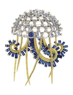 Moonstone, sapphire and diamond Man of War brooch, ~Jean Schlumberger for Tiffany & Co.