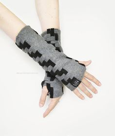 Fingerless Gloves Arm Warmers Mittens by GreyMatterCollection
