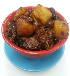 SWEET TERIYAKI BEEF: 2-3 lb beef roast, 1 cup stir-fry or teriyaki sauce (the thicker the better), 20-oz can pineapple chunks w/juice, 1 chop onion -- Add all ingredients to inner pot of rice cooker. Set to Slow Cook for 4 hours. When the rice cooker beeps check for doneness, shred and eat!