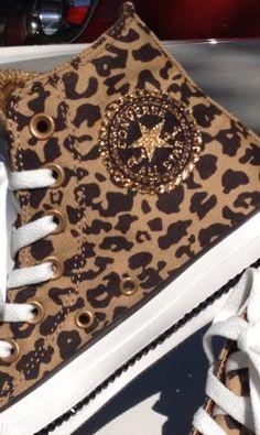 Women& Leopard/Cheetah Swarovski Converse All Stars Converse All Star, Converse Shoes, Diy Converse, Sparkly Converse, Cute Shoes, Me Too Shoes, Swarovski, Leopard Shoes, Leopard Converse