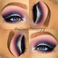 Alison Henry purple smokey eye with white glitter cut-crease
