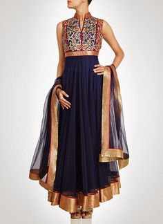 This anarkali salwar kameez is in navy blue net fabric. This anarkali salwar kameez have golden zari hand embroidery on yoke. Hemline and dupatta borders of this anarkali salwar kameez is also have go Anarkali Dress, Anarkali Suits, Long Anarkali, Indian Anarkali, Black Anarkali, Punjabi Suits, Indian Attire, Indian Wear, Indian Style