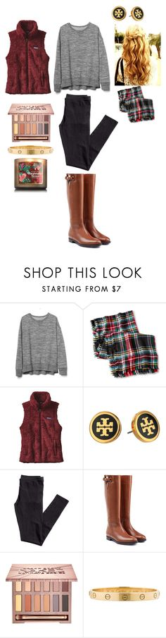 """Christmas Day: Casual"" by meredith-gomes ❤ liked on Polyvore featuring Gap, Merona, Patagonia, Tory Burch, H&M, Burberry, Urban Decay and Cartier"