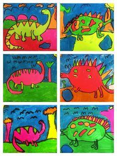 History of the Earth Art. Elementary Art Rooms, Art Lessons Elementary, Square One Art, Dinosaur Art Projects, Kindergarten Art Lessons, First Grade Art, Ecole Art, Art Gallery, Preschool Art