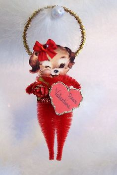 Vintage Valentine Puppy Ornament Feather Tree by TreePets on Etsy