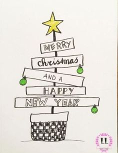 Great Merry Christmas and a Happy New Year - Weihnachten Merry Christmas Drawing, Merry Christmas And Happy New Year, Merry Happy, Watercolor Christmas, Happy Year, Christmas Quotes, Christmas Deco, New Year Doodle, Chrismas Cards
