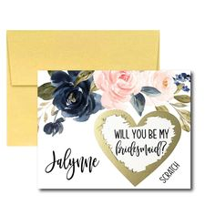 Navy and Blush Will You Be My Bridesmaid Scratch Off Card, Bridesmaid Proposal Card, Ask Bridesmaid Asking Bridesmaids, Will You Be My Bridesmaid, Scratch Off Cards, Best Places To Propose, Bridesmaid Proposal Cards, Bridal Shower Planning, Or Rose, Rose Gold, Watercolor Flowers