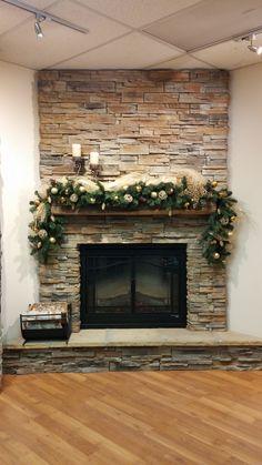 Stone Fireplace Holiday Mantel Decorations - Stone Selex, Ledge Stone