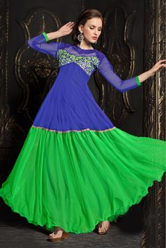 Blue And Green Colour Net Fabric Party Wear Gown Comes with matching blouse. This Gown Is crafted with Embroidery This Gown Comes As a Semi stitched Which Can Be Stitched Up to Size 42....
