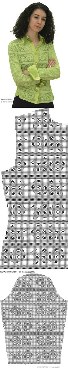 Filet crochet button-down shirt; Filet Crochet, Crochet Diagram, Thread Crochet, Crochet Stitches, Crochet Shirt, Crochet Cardigan, Knit Or Crochet, Irish Crochet, Crochet Fabric