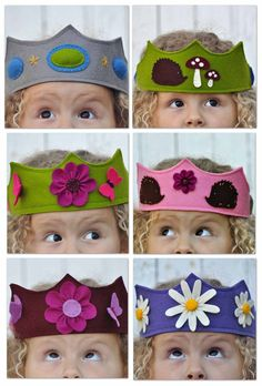 oh, my kids would love these crowns made out of felt! This is my favorite pic, but there is a tutorial here: http://whipup.net/2011/10/26/guest-blogger-series-a-felt-crown-tutorial/
